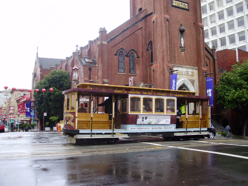 Street Car On a Rainy Street